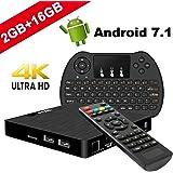 TV Box Android 7.1 - VIDEN W2 Smart TV Box [2018 Ultima Generazione] Amlogic S905W Quad-Core, 2GB RAM & 16GB ROM, Video 4K UHD H.265, 2 Porte USB, HDMI, WiFi Web TV Box, +Air Telecomando Mini Tastiera
