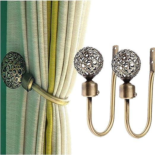 Curtain Holdbacks Window Decorative Hook Draperies Metal Set of 2 Bronze