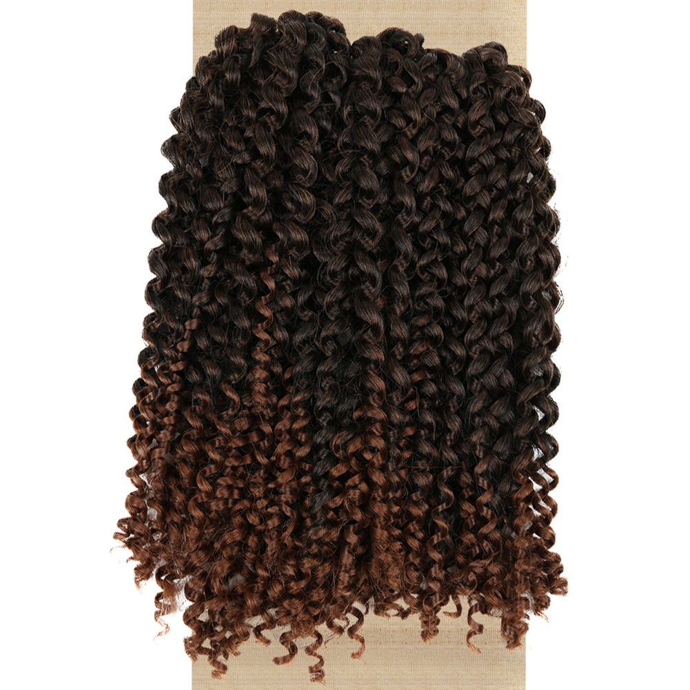 Lady Miranda Ombre Color Afro kinky Curly Braiding Hair Extensions Jerry Curl Crochet Hair 3X Braid Hair Short Synthetic Hair Styles (Black&brown)