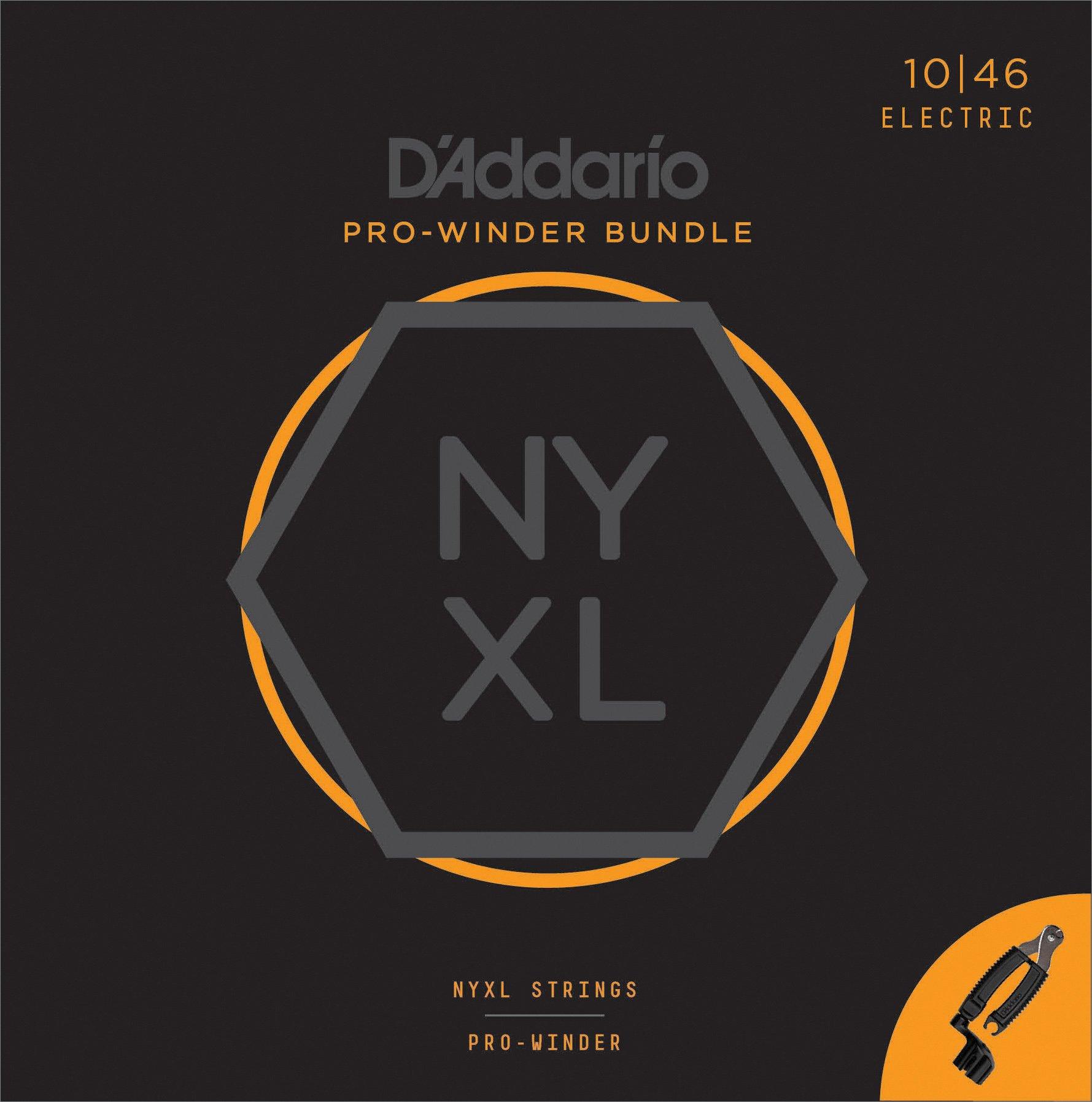 D'Addario NYXL1046 Nickel Wound Electric Guitar Strings, Regular Light & Pro-Winder Bundle