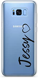 SmartGiftShop Personalised Clear Opaque Heart Initial Name Phone Case Cover for iPhone Samsung Samsung Galaxy S8 Plus/Black