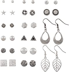 SIX Ohrringe im Set: 16 modische Ohrstecker, diverse Motive Stern/Blätter/Dreieck/Knoten-Design, ideal zum Verschenken, silberfarben (429-511)