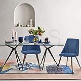 FurnitureR Conjunto de 2 sillas de comedor de cocina, ensamble los 2 en 5 minutos, sillas laterales de cojín de tela con…
