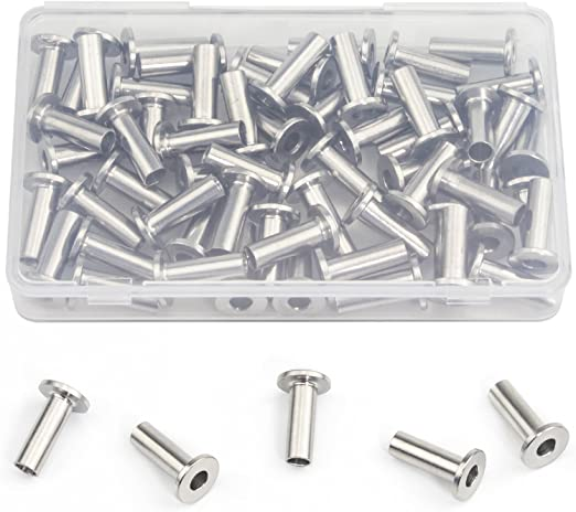 1//8-Inch 20 Pcs Stainless Steel Protector Sleeves for Cable Railing Kit Hardware Wood Post
