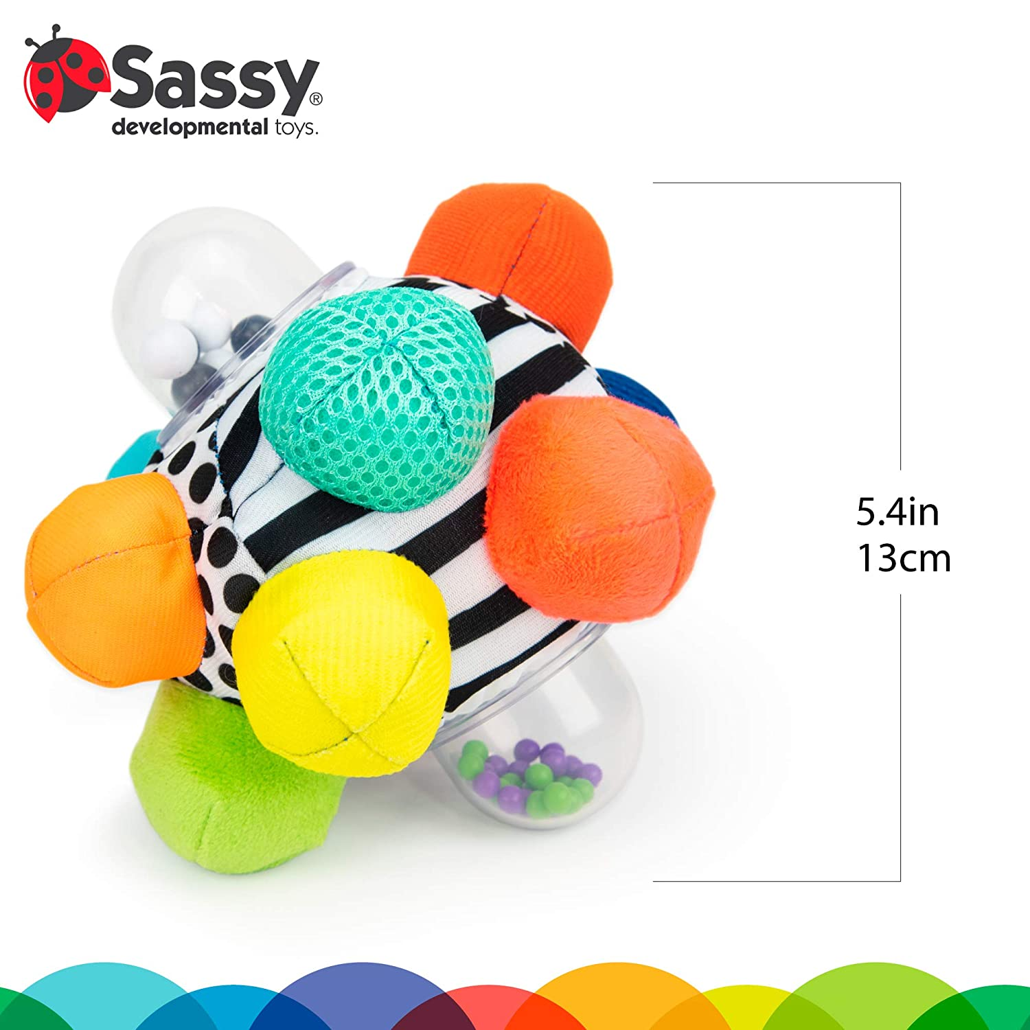 Sassy Developmental Bumpy Ball   Easy to Grasp Bumps Help Develop Motor Skills   for Ages 6 Months and Up   Colors May Vary : Baby Toy Balls : Baby