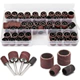 104Pcs Sanding Band Drum Sleeve 60 120 320 Grit 1/4' 1/2' Nail Drill Sander with 4 Drum Mandrel for Dremel Rotary Tool