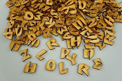 250 Scatola In Legno Piccola Lettera Cifre Lettere Adesive Blank