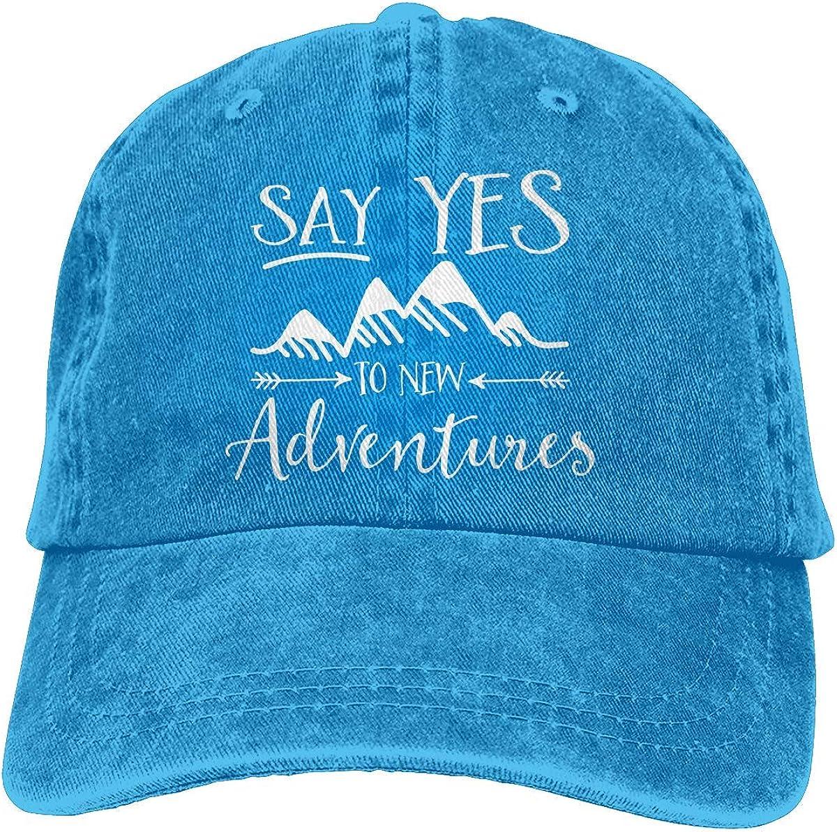 Say Yes to Adventure Unisex Mens Womens Denim Strapback Baseball Cap