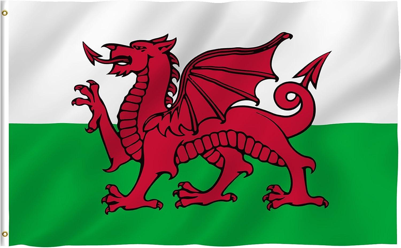 Amazon Com Wales Flag 3 X 5 Brand New 3x5 Welsh Dragon Flag