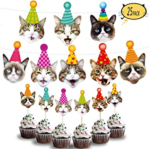 Kitty Cat Party Supplies Cat Birthday Garland Banner Cake Toppers Photographic Cat Faces Birthday Cake Banner Decorations Birthday Party Bunting Banner Decor