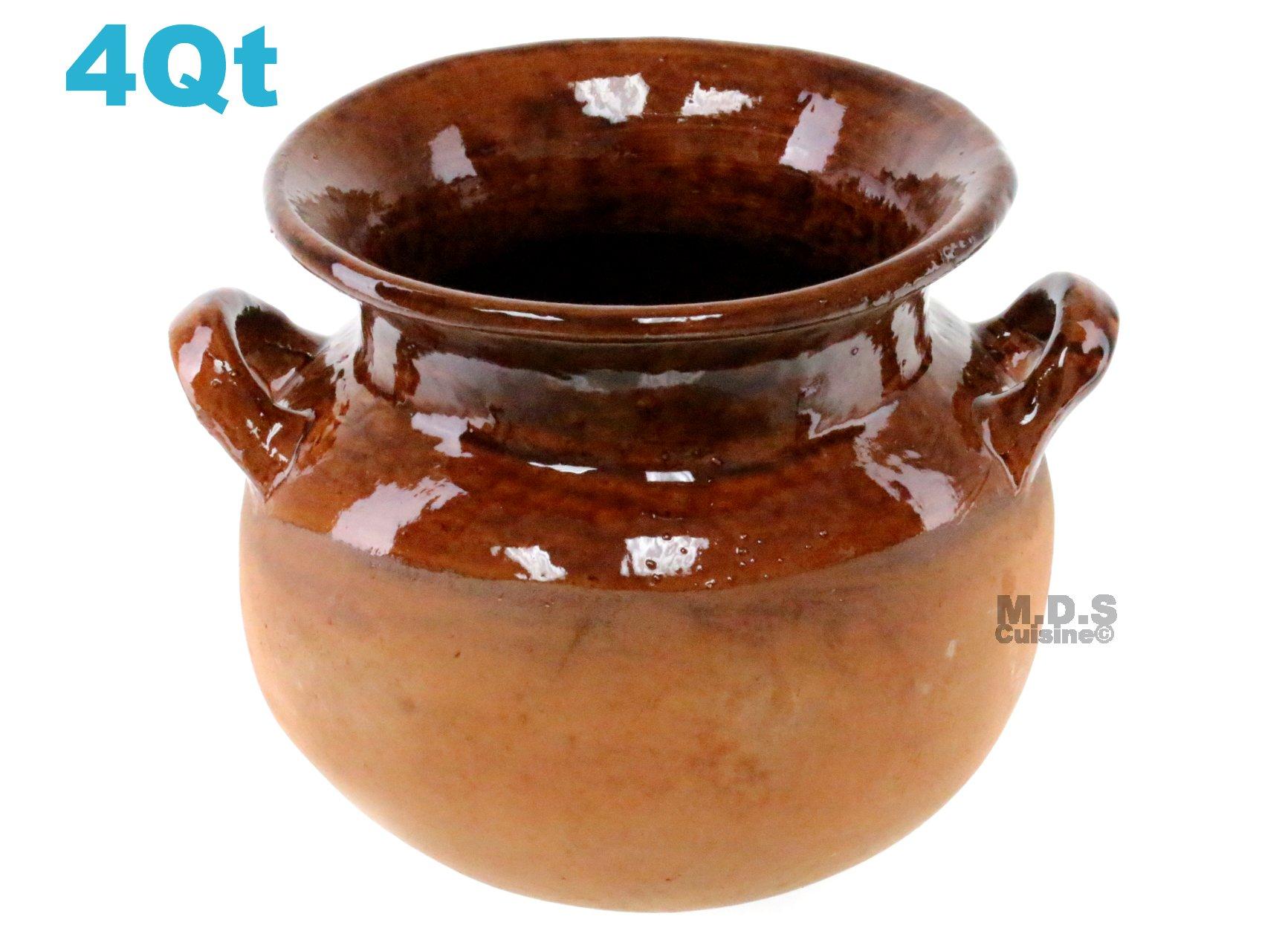 Olla De Barro Frijolera Brown Gloss Finish 4 Qt. Canterito Traditional Decorative Artisan Artezenia Lead Free Fishbowl