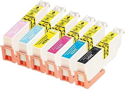 Icolor Cartuchos de Tinta Compatibles para Epson Impresora de inyección de tinta: Pack de color para Epson (equivalente a T2435/24 x l), BK/C/M/Y/LC/LM (Epson de tinta): Amazon.es: Oficina y papelería