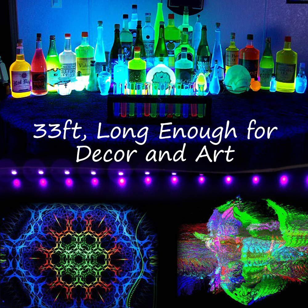 24W UV Black Light Kit 16.5ft//5m 12V UV Strip Light with 300 LEDs 395nm-405nm for Party Collection Night Fishing.etc. Stage