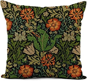 Topyee Throw Pillow Cover 20x20 Inch Doodlefly Vintage Floral Morris Compton Decorator William Patterns Medieval Home Decor Pillowcases Square Pillow Cases Cushion Covers for Sofa Couch Bed