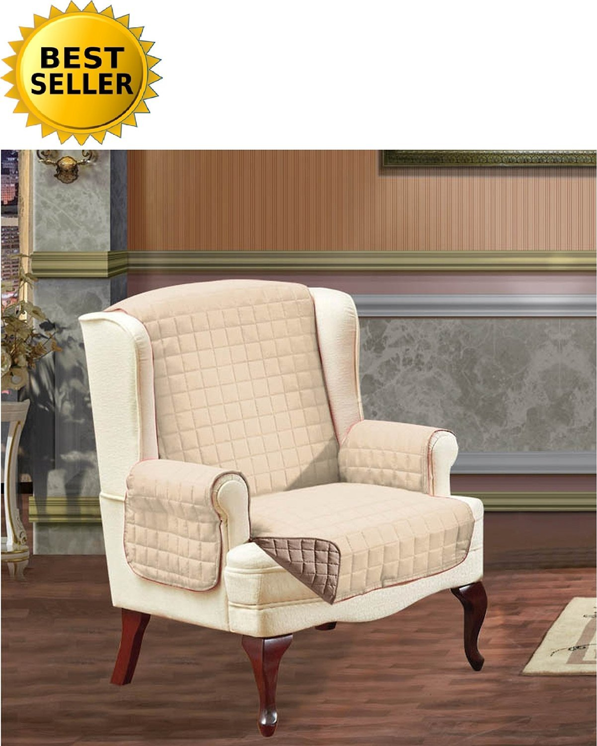 #1 Best Seller Reversible Furniture Protector! Elegance Linen® Luxury Slipcover/Furniture Protector Great for Pets & Children with STRAPS TO PREVENT SLIPPING OFF, Wing Chair, Cream/Taupe