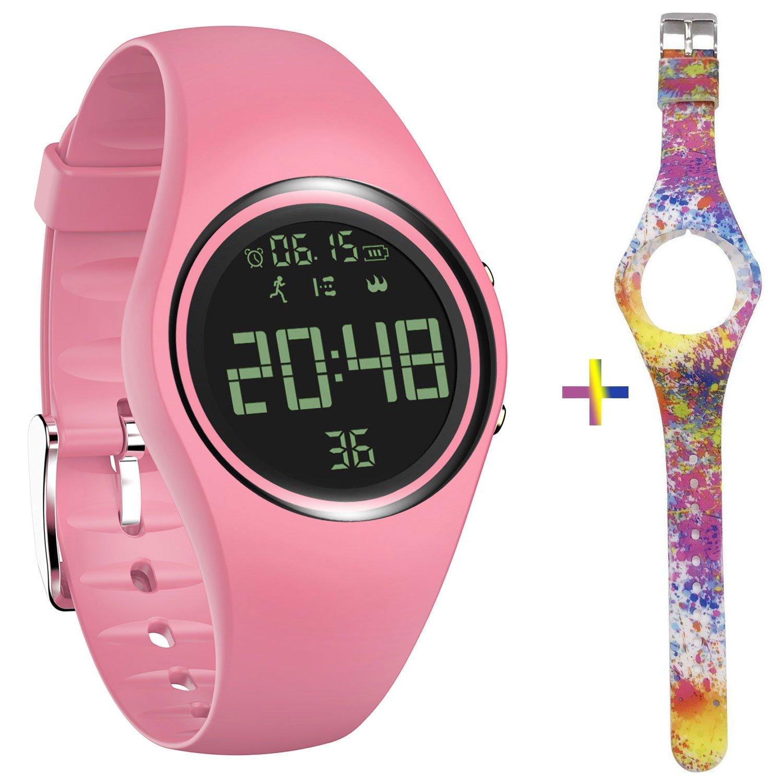 feifuns Smart Watch Non-Bluetooth Kid Pedometer Watch Sport Wristband IP68 Water-Resistant Swim Watch Fitness Tracker with Step/Distance/Calorie/Clock/Timer for Walk Kid Men Women (Pink+Pattern Band)