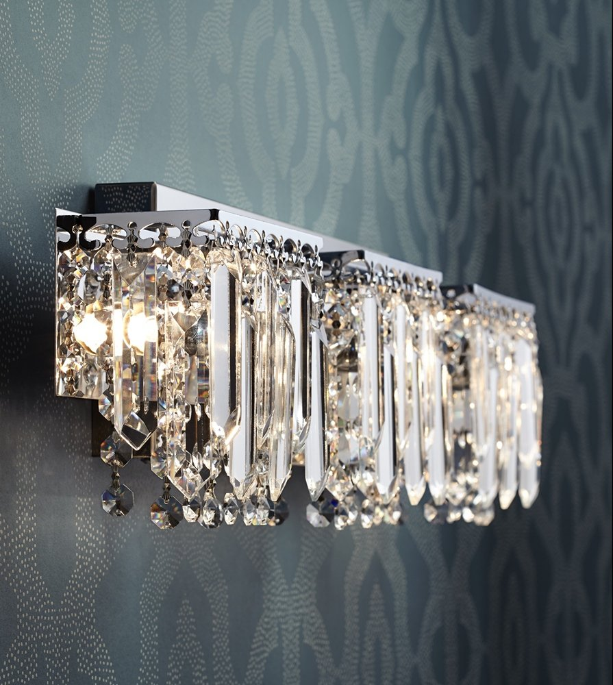 Possini euro design crystal strand 25 34 wide bath light possini euro design crystal strand 25 34 wide bath light vanity lighting fixtures amazon mozeypictures Gallery