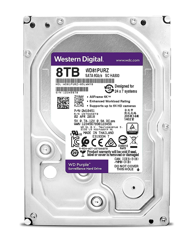 WD Purple 8TB Surveillance Internal Hard Drive - 5400 RPM Class, SATA 6 Gb/s, 256 MB Cache, 3.5'' - WD81PURZ by Western Digital (Image #3)