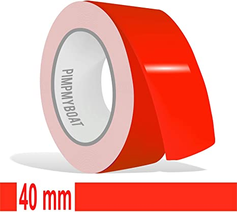 Siviwonder Zierstreifen Neon Rot Leuchtend Glanz In 40 Mm Breite Und 10 M Länge Aufkleber Folie Für Auto Boot Jetski Modellbau Klebeband Dekorstreifen Fluoreszierend Grell Rot Auto