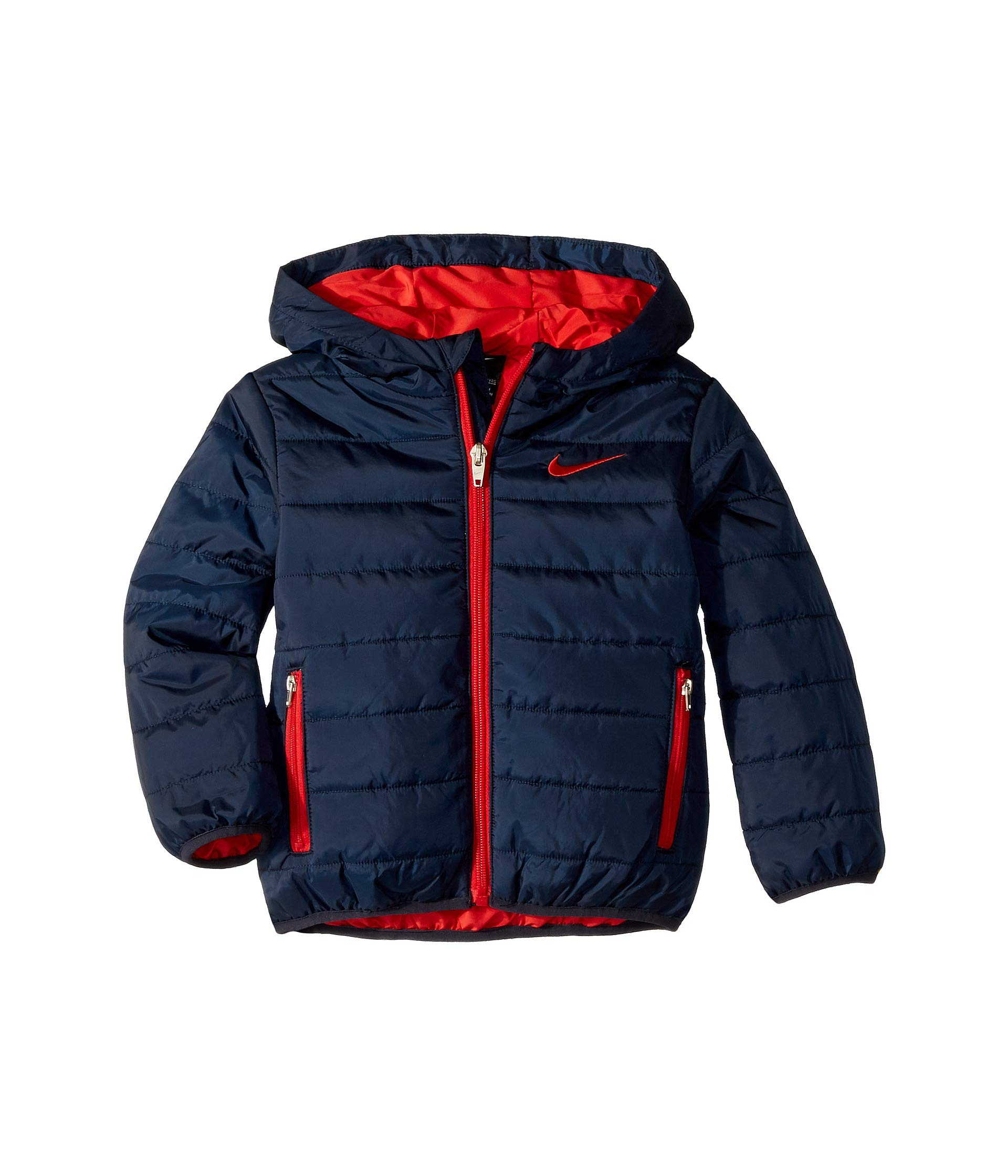 Nike Kids Baby Boy's Quilted Jacket (Toddler) Obsidian/University Red 4T