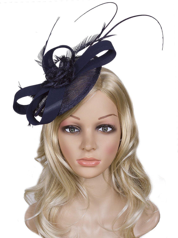 Vijiv Women Vintage Derby Fascinator Hat Pillbox Headband Feather Cocktail Tea Party Beige One Size JXJ-FH3318Y