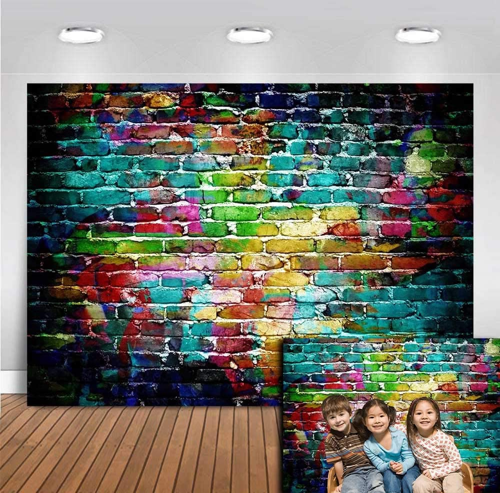 Colorful Brick Wall Photography Backdrop for Photo Booth Studio Props 80s 90s Hip Hop Party Decorations Photo Background Banner Vinyl Portrait Wallpaper Pictures Supplies 5x3ft Graffiti Brick Wall