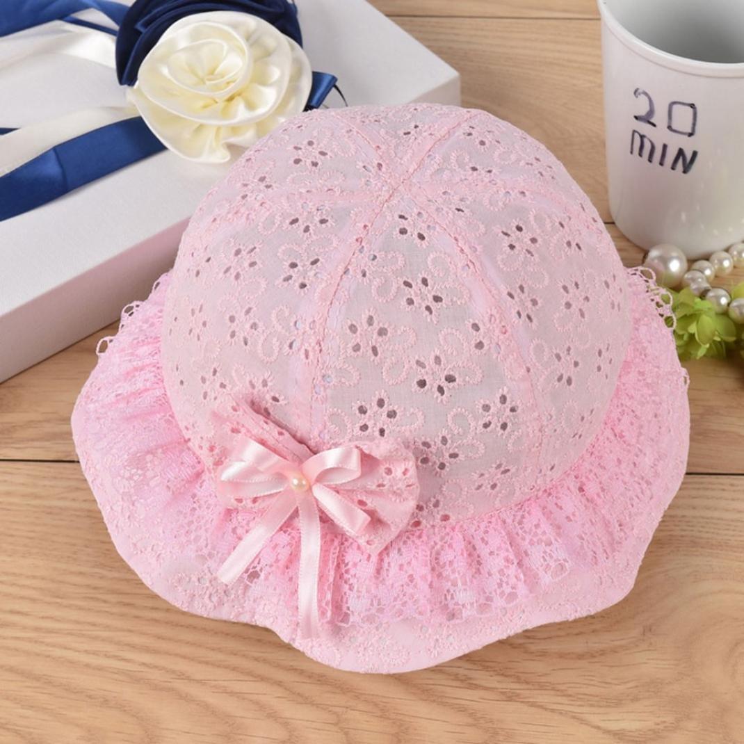 XEDUO Baby Girls Cap Mesh Embroidered Beach Sun Cap Bow Flower Cute Bucket Hat