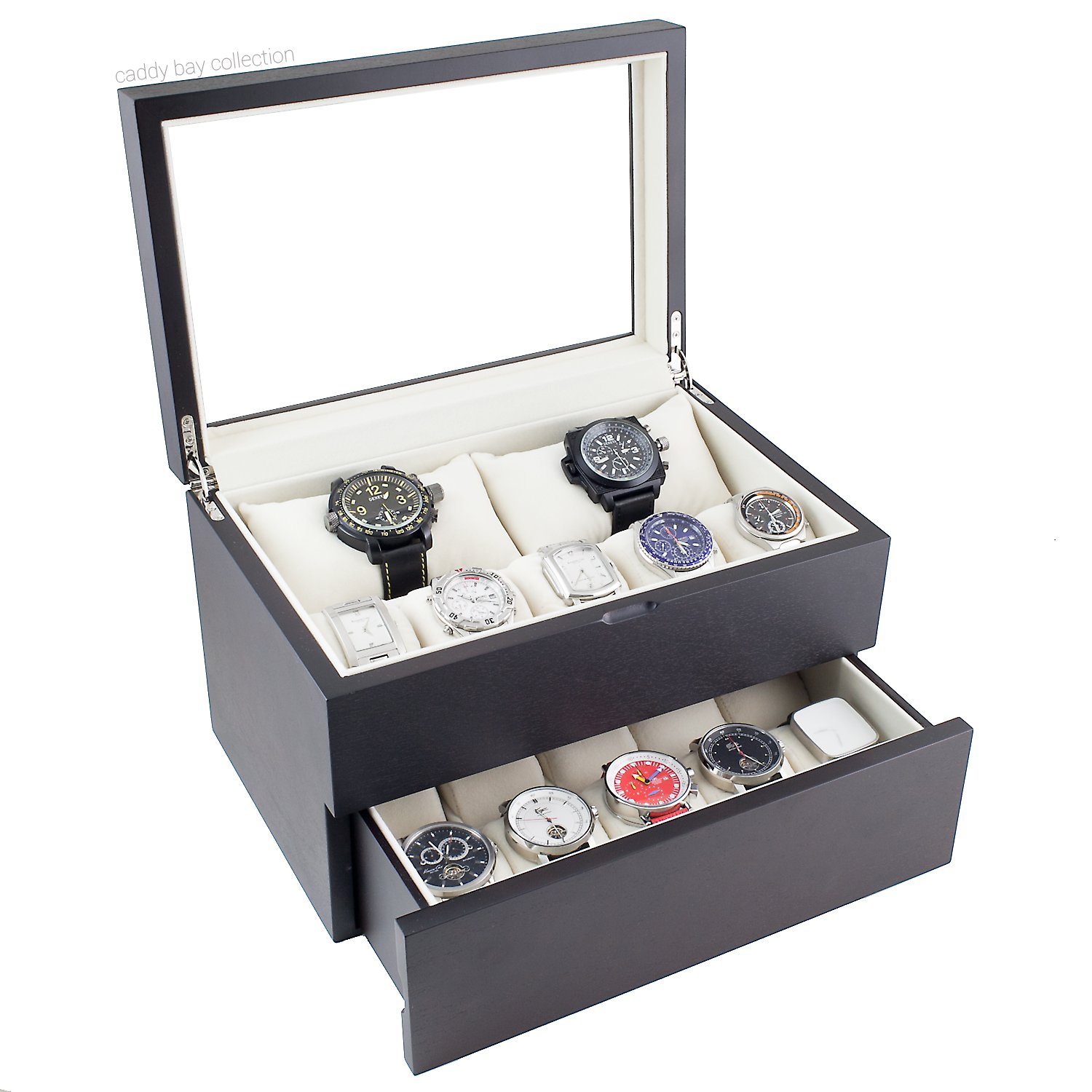 Caddy Bay Collection Vintage Dark Walnut Wood Watch Case Display Storage Watch Box Glass Top Holds 20+ Watches With Adjustable Soft Pillows and High Clearance for Larger Watches