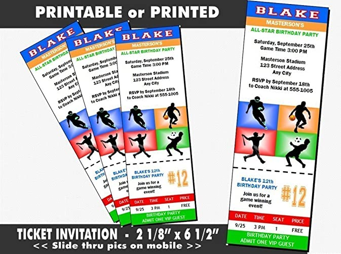 Amazon All Star Sports Birthday Party Ticket Invitation
