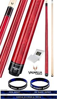 product image for Valhalla by Viking VA104 Red 2 Piece Pool Cue Stick No Wrap 16-21 oz. Plus Rosin Bag & Bracelet (Red VA104, 20)