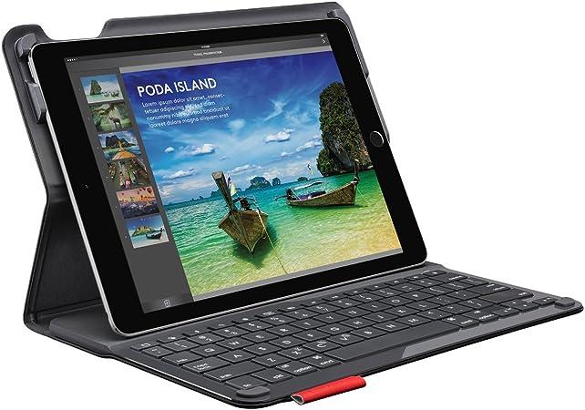 Logitech Type + Teclado para móvil Negro Bluetooth - Teclados para móviles (Negro, Resistente a rayones, Apple, iPad Air 2, Batería, Bluetooth)