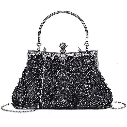 874f3fd03f2 Kisschic Women s Vintage Beaded and Sequined Evening Bag Wedding Party Handbag  Clutch Purse (Black)
