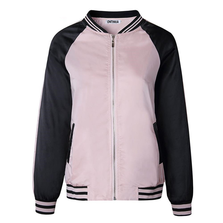 Feilongzaitianba Winter Coat Women Girls Fall Casual Outwear Coats Zipper Jacket Full Sleeve Tops Pockets Black Pink Jacket
