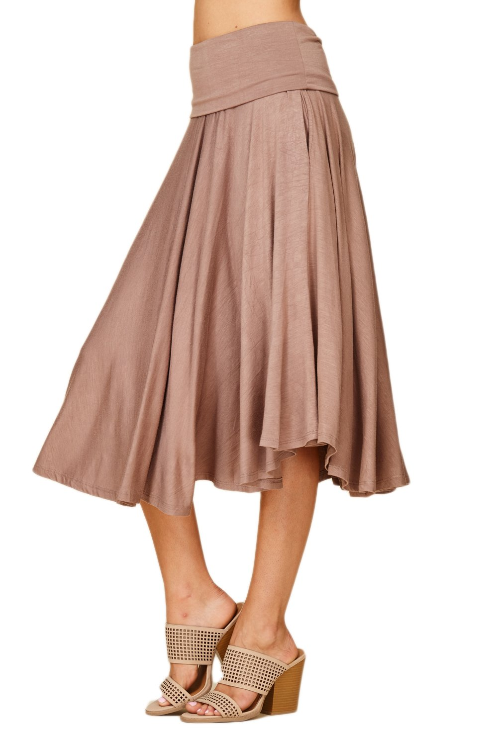 Womens Fold Over Waistband Comfy A Line Flowly Midi Plus Size Skirts with Side Pockets 3X-Large Taupe Grey S9010X