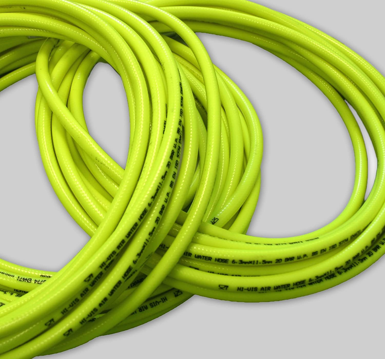 30m 1/2' (12.5mm) Hi-Vis industrial 20 Bar compressor air line/water hose - FDA approved, fluorescent braided PVC Camthorne