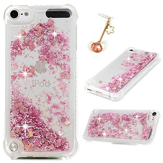 new products e28ba 0b0d8 MOLLYCOOCLE iPod Touch 6 Glitter Case, Pink Glitter Bling Sparkle Sequins  Case Slim Clear Transparent Shockproof TPU Gel Bumper Rubber Floating ...