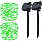 Solar Christmas String Lights Green Outdoor Waterproof 72ft 100 LED(2 Pack) 8 Modes Copper String Lights Fairy Lights…