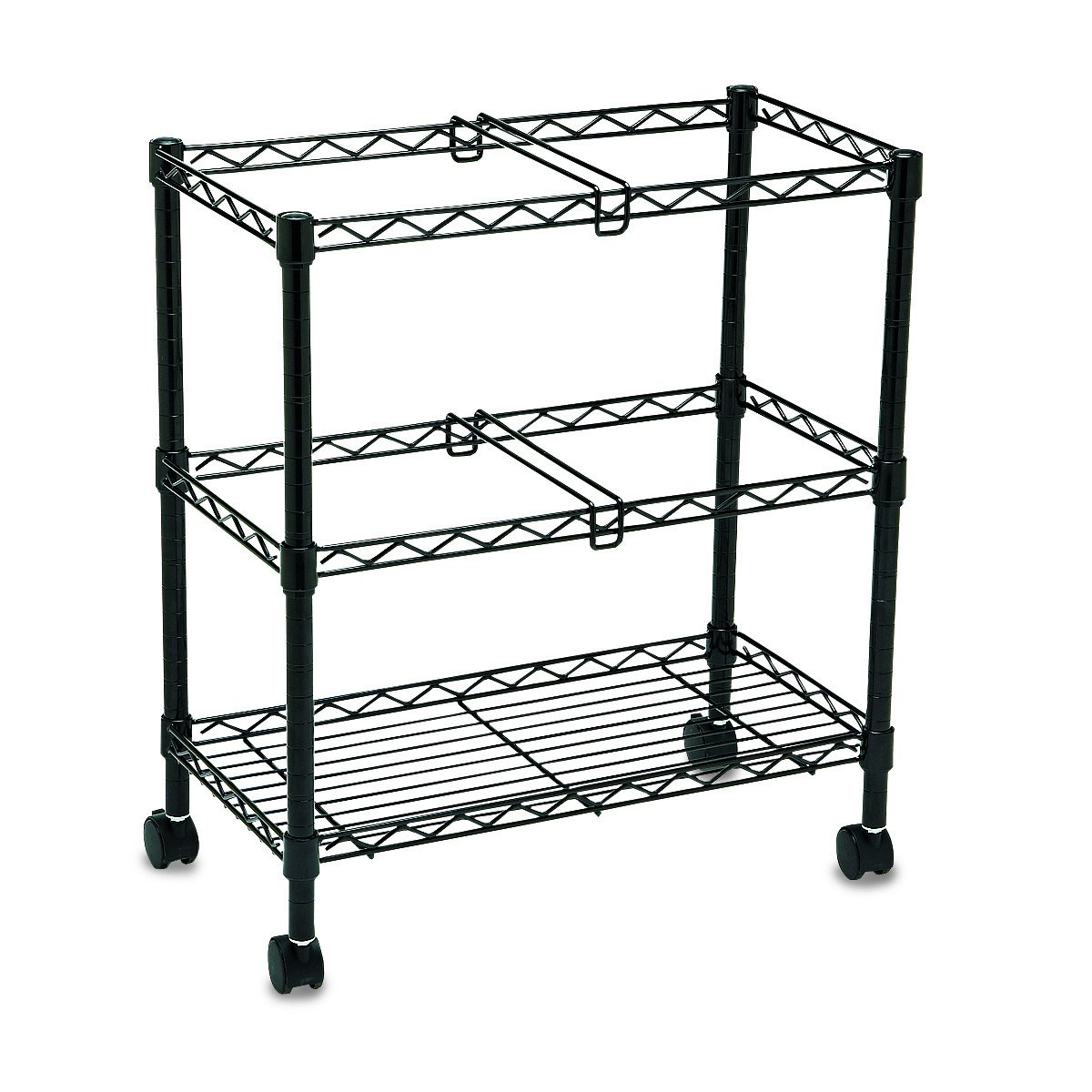 Safco Products 5278BL Two-Tier Rolling File Cart for Letter and Legal Size Folders (sold separately), Black