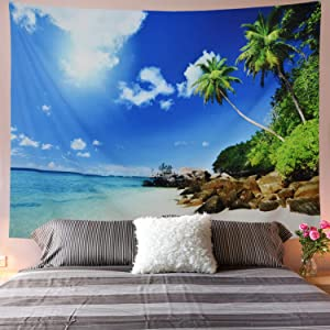 Galoker Ocean Tapestry Sea Beach Tapestry Coconut Tree Tapestry Tropic Paradise Beach Landscape Tapestry Hippie Tapestry Wall Hanging for Home Decor(H59.1×W78.7 inches)