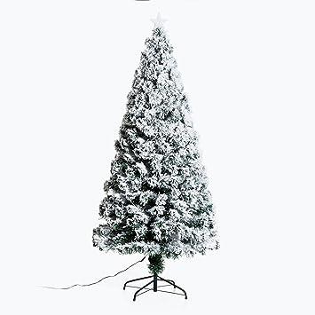 08948390c3c HOMCOM Árbol de Navidad 180cm Artificial Árbol Pino Natural de Blanco Nevado  con Soporte de Metal Luces LED 230 Ramas  Amazon.es  Hogar