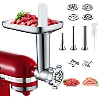Metal Meat Grinder Attachments for KitchenAid Stand Mixers, Cofun Accessories Included 4 Grinding Plates, 3 Sausage…