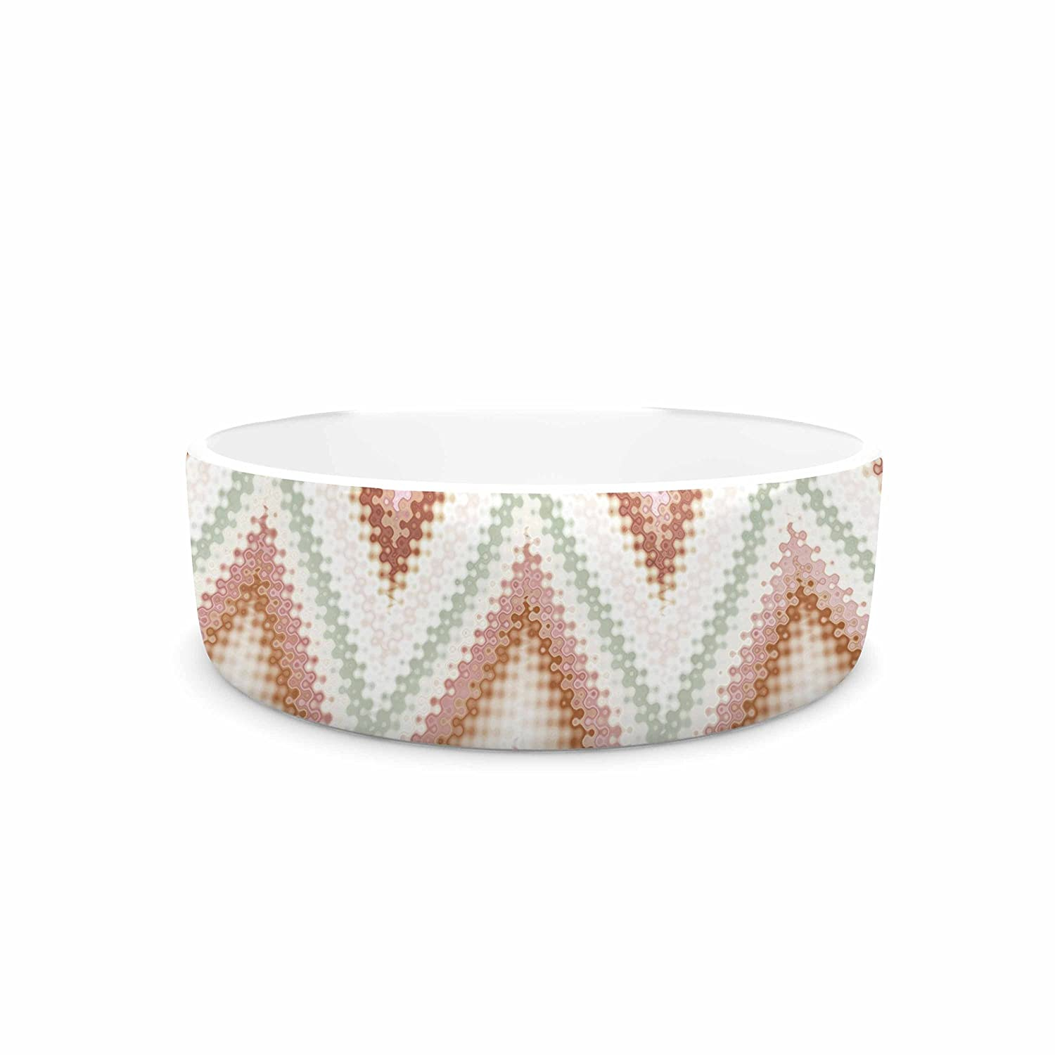KESS InHouse Nika Martinez Seventies Chevron  Beige Pattern Pet Bowl, 7