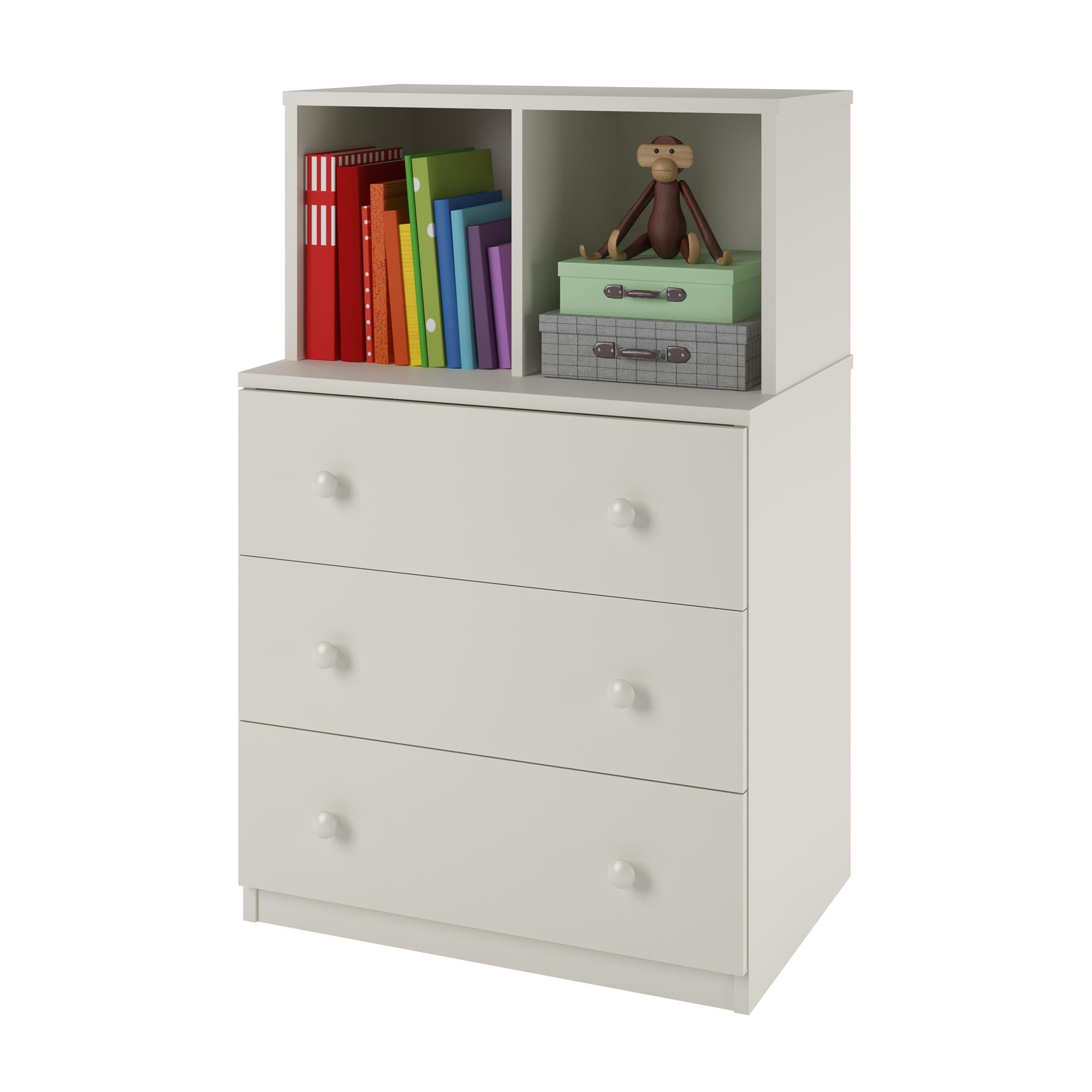 Ameriwood Home Skyler 3 Drawer Dresser with Cubbies, White by Ameriwood Home (Image #2)
