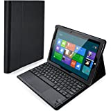 Poweradd Surface 3 Keyboard Case Detachable Wireless Bluetooth Keyboard with Touch Pad with Magnetic PU Leather Stand Case Cover for Microsoft Surface 3 10.8 inch Tablet (NOT FOR Surface Pro 3) - Black
