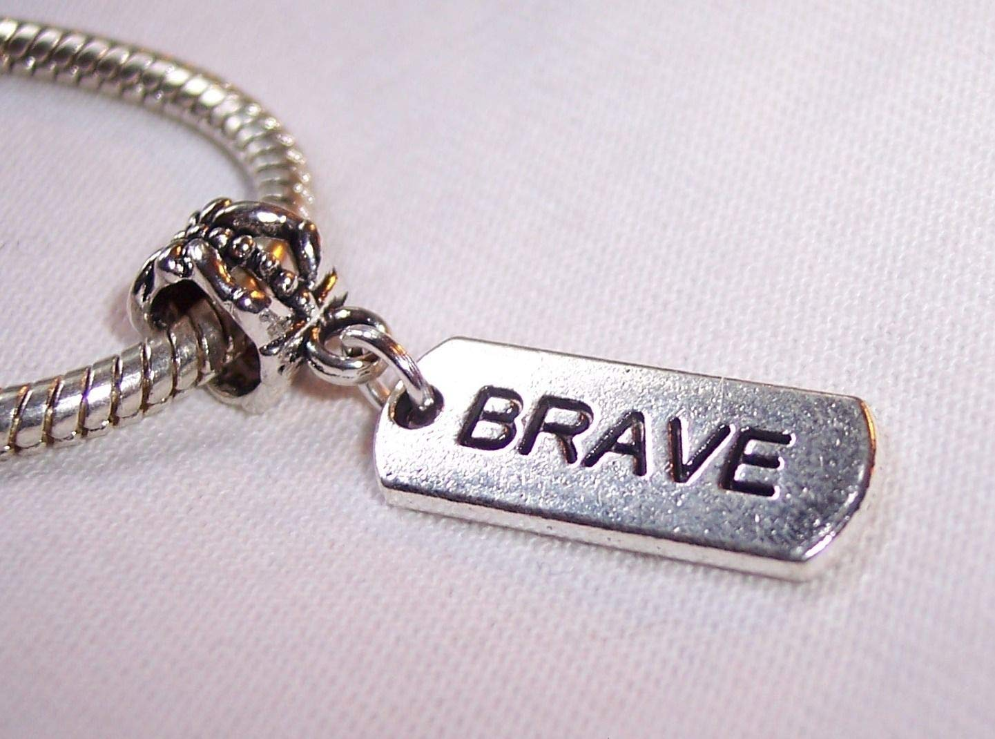 Brave Inspirational Word Message Dog Tag Courage Dangle Charm for Euro Bracelets