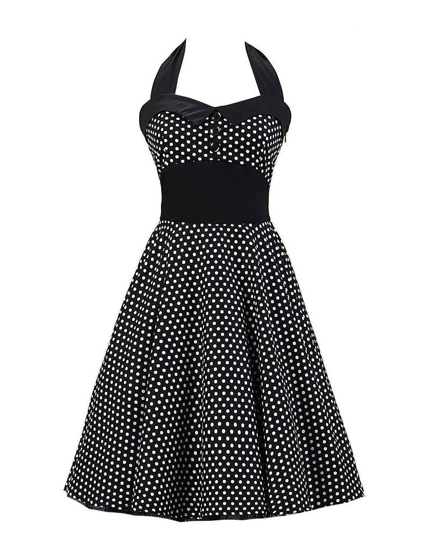 SaiDeng Damen Jahrgang 1950s Polka Punkt Partei Cocktail Kleid