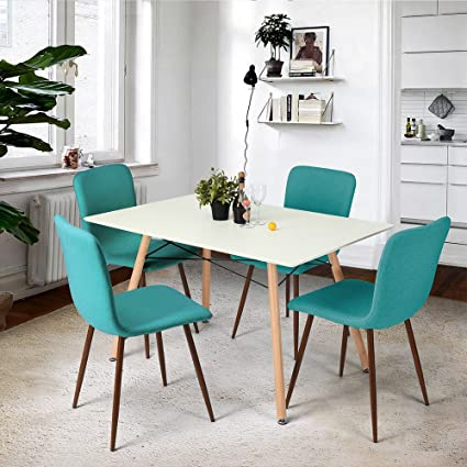 FurnitureR Dining Table Modern Retro Design Square Dining Table Chair Desk With Beech Wooden Legs