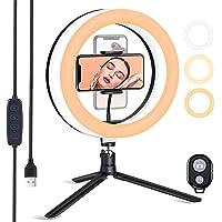 ESDDI 10 tum LED-ringlampa med stativstativ och dimbar ljusstyrka, selfie-ringlampa med telefonhållare för livestreaming…