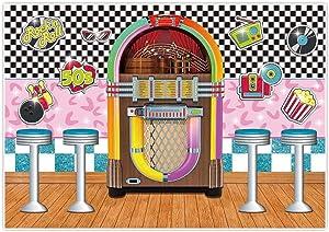 Allenjoy 7x5ft 50s Soda Shop Theme Backdrop Back to 1950s Party Supplies Retro Diner Time Rock Roll Classic Sock Hop Decorations Crazy Vintage Dance Prom Background Portrait Photography Props Favors