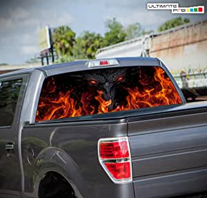 Basketball Pick-Up Truck Perforated Rear Window Wrap Fire Ball